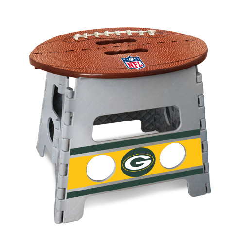 """14"""" Gray and Brown NFL Green Bay Packers Folding Step Stool - IMAGE 1"""