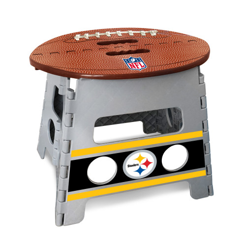 """14"""" Gray and Brown NFL Pittsburgh Steelers Folding Step Stool - IMAGE 1"""