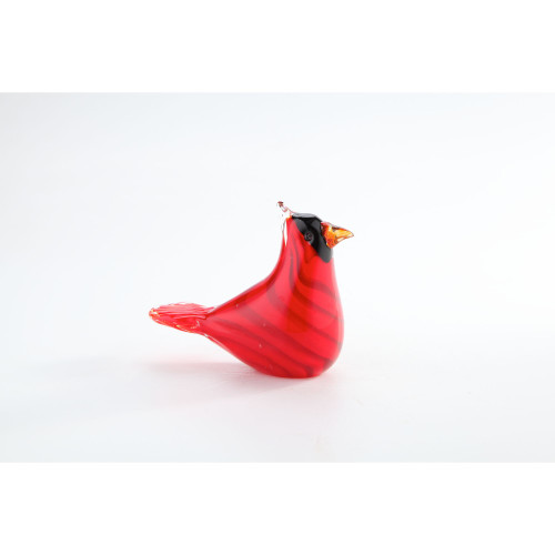 "5.5"" Red and Black Hand Blown Glass Bird Figurine Tabletop Decor - IMAGE 1"