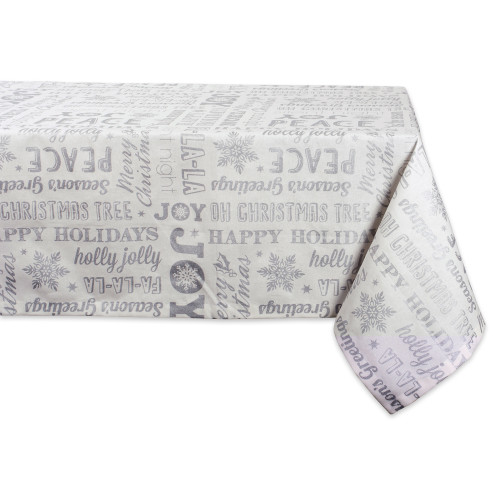 """White and Metallic Silver Colored Christmas Collage Rectangular Tablecloth 60"""" x 84"""" - IMAGE 1"""