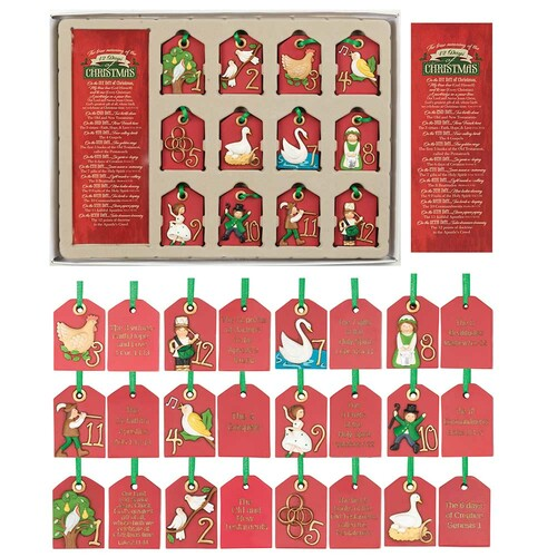 """12.25"""" Red and Green 12 Days of Christmas Ornament Set - IMAGE 1"""