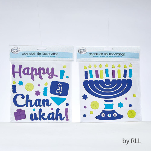 """10"""" Menorah Window Gel Decoration with Blue, Lavender, Yellow and Turquoise candles - IMAGE 1"""