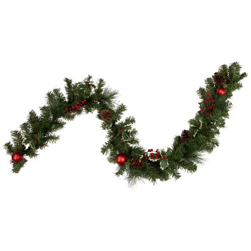 6' Pre-Decorated Holly Berry, Pine Cone, Twig and Ball Artificial Christmas Garland - Unlit - IMAGE 1