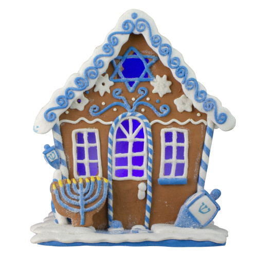 "8"" White and Blue Festive Hanukkah Gingerbread LED House Tabletop Decor - IMAGE 1"
