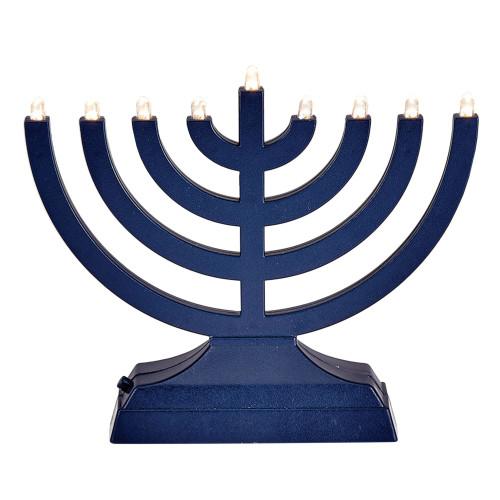 "6"" Matte Navy Blue LED Battery Operated Hanukkah Menorah - IMAGE 1"