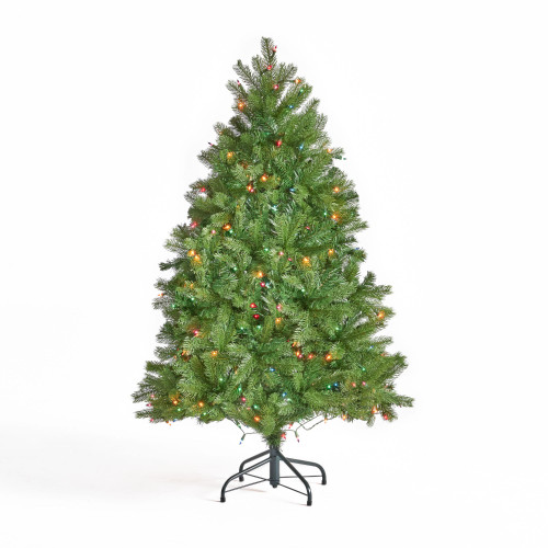 4.5' Pre-Lit Full Mixed Spruce Artificial Christmas Tree - Multicolor Lights - IMAGE 1