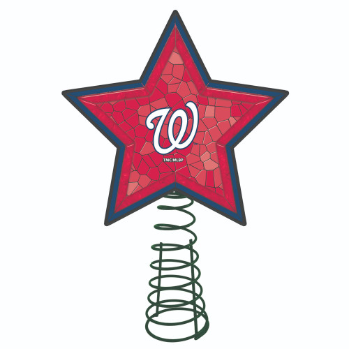 """10"""" Lighted Red and Blue Star MLB Washington Nationals Christmas Tree Topper - IMAGE 1"""