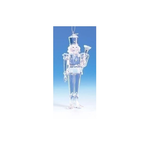"""5.75"""" Clear Icy Crystal Trumpeting Christmas Nutcracker Ornament - IMAGE 1"""