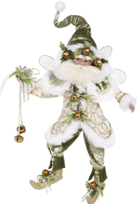 White and Green Collectible Sleighbell Christmas Fairy - Medium - IMAGE 1