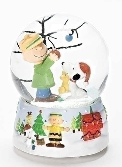 """5.25"""" White and Green Peanuts Charlie Brown and Snoopy Christmas Glitterdome - IMAGE 1"""