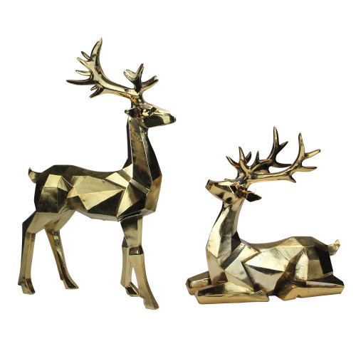 "Set of 2 Shiny Gold Sitting and Standing Geometric Shaped Christmas Deer - 18"" - IMAGE 1"