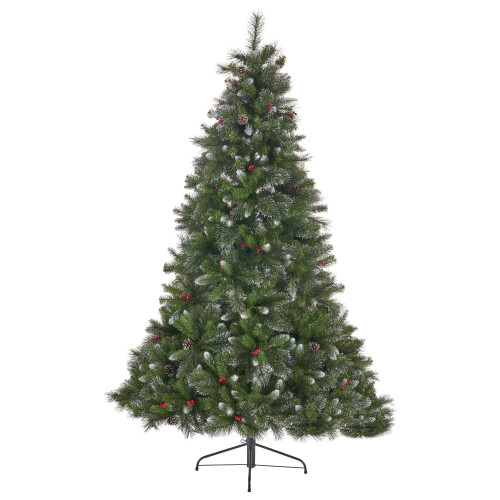 7' Medium Mixed Spruce Artificial Christmas Tree with Glittered Branches - Unlit - IMAGE 1