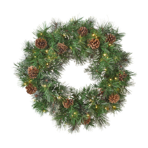 "24"" Pre-Lit Cashmere Pine and Mixed Spruce Artificial Christmas Wreath - Warm White LED Lights - IMAGE 1"