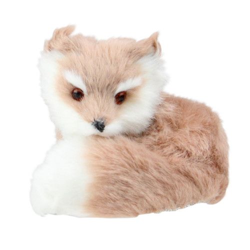 """3.25"""" Brown and White Woodland Furry Sitting Fox Christmas Ornament - IMAGE 1"""
