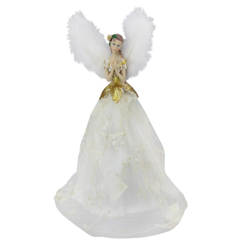 "10"" Angel Tree Topper in Ivory Dress with Sheer Ivory Overlay - IMAGE 1"