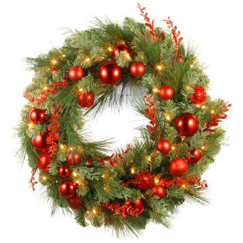 """30"""" Pre-Lit B/O LED Red Mixed Artificial Christmas Wreath – Warm White Lights - IMAGE 1"""
