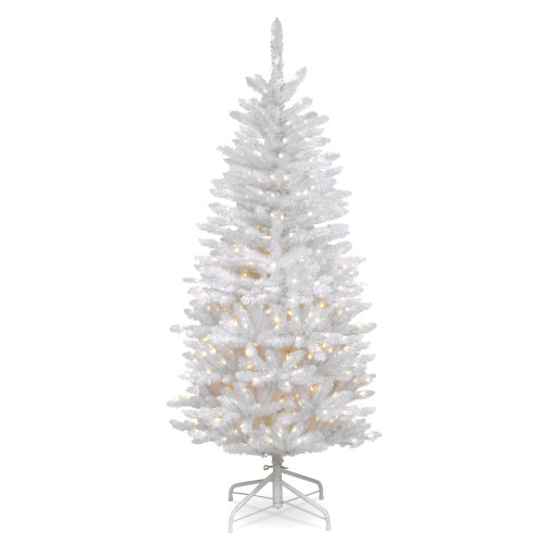 4.5' Pre-Lit Kingswood White Fir Pencil Artificial Christmas Tree - Clear Lights - IMAGE 1