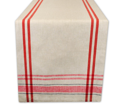 """14"""" x 108"""" Red and Taupe French Stripe Rectangular Table Runner - IMAGE 1"""