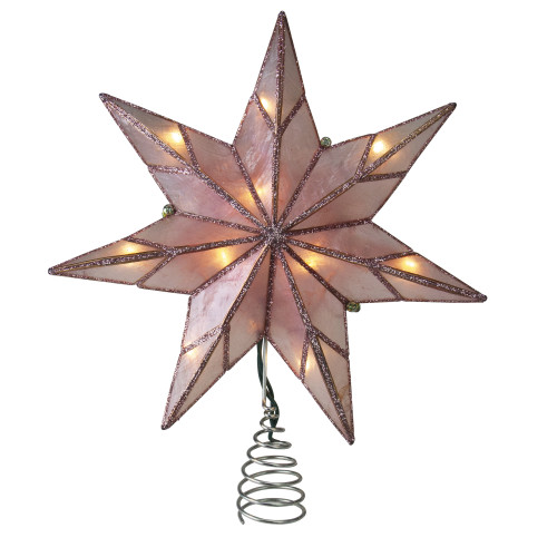 """10"""" Lighted Pink Star Christmas Tree Topper - Clear Lights - IMAGE 1"""