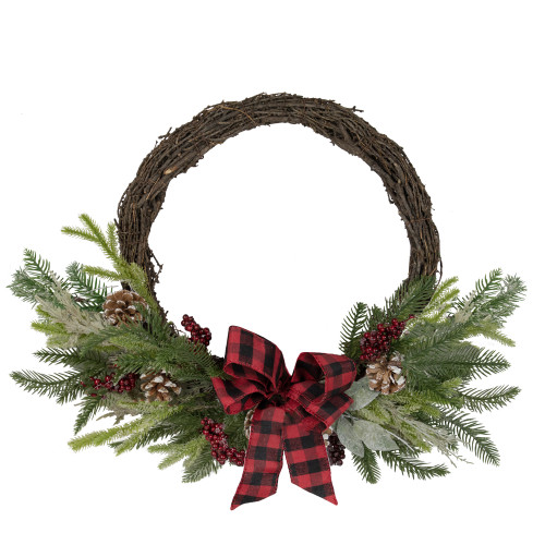 Icy Winter Foliage and Plaid Bow Artificial Christmas Twig Wreath - 23 inch, Unlit - IMAGE 1