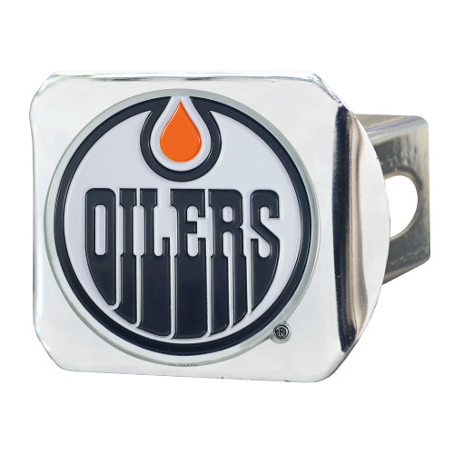 """4"""" Stainless Steel and Black NHL Edmonton Oilers Hitch Cover - IMAGE 1"""