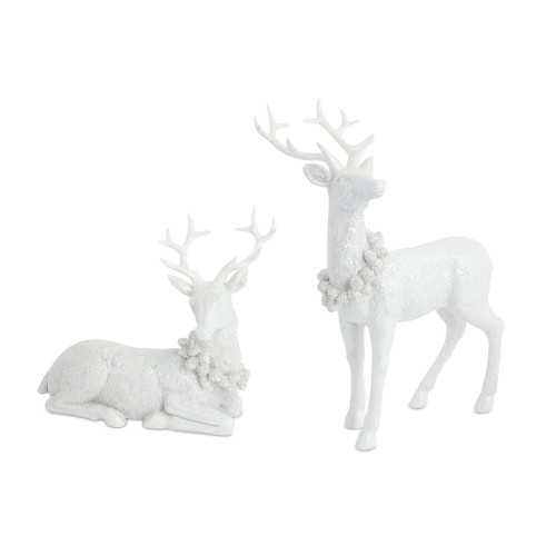 """Set of 2 White Sitting and Standing Buck Deer Christmas Tabletop Figurines 11.75"""" - IMAGE 1"""