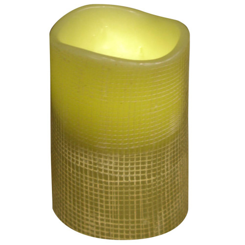 "4"" Olive Green Lattice Design Battery Operated Flameless Flickering Wax Pillar Candle - IMAGE 1"