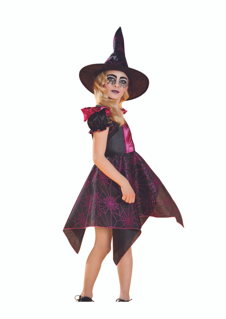 Black and Pink Spider Web Witch Girl Child Halloween Costume - Large - IMAGE 1