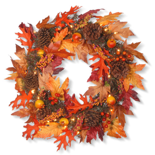 Maple Berries and Cones Artificial Christmas Wreath - 24-Inch, Clear Lights - IMAGE 1