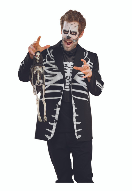 Black and White Skeleton Men Adult Halloween Costume - Large - IMAGE 1