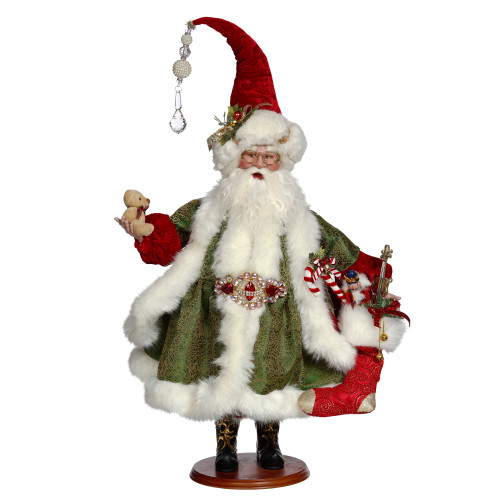 "26"" Green and White Santa Filling Stocking Display Figure - IMAGE 1"
