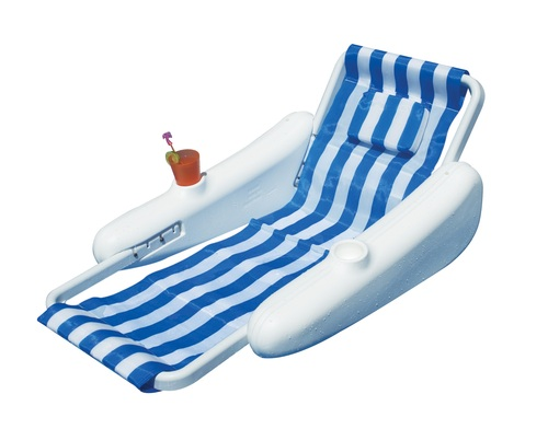 68.5-Inch Sunchaser Blue and White Striped Adjustable Back Floating Lounge Chair - IMAGE 1