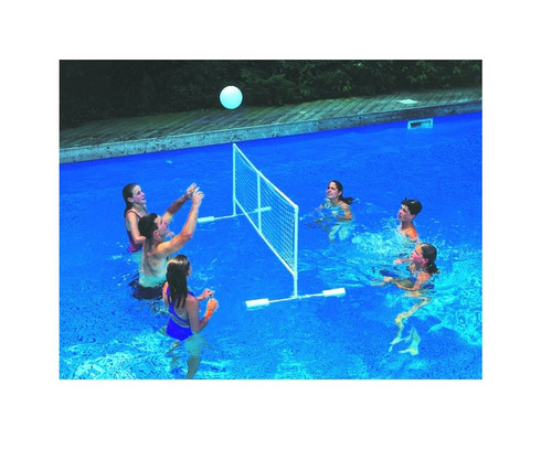 "86"" White Water Sports Swimming Pool Floating Volleyball Game With Net And Ball - IMAGE 1"