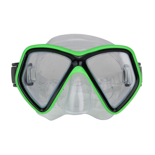 """6.25"""" Neon Green and Black Monaco Swim Mask for Ages 10 and up - IMAGE 1"""