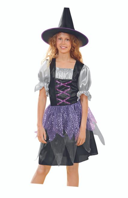Black and Purple Witch Girl Child Halloween Costume - Medium - IMAGE 1