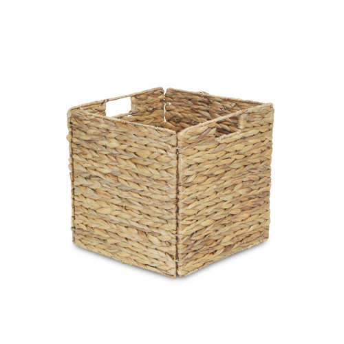 "12"" Brown Water Hyacinth Square Foldable Basket with Handle - IMAGE 1"