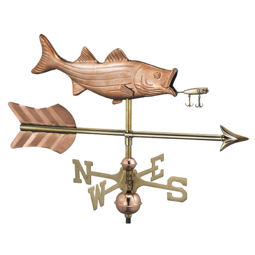 """53"""" Bronze Bass with Lure and Arrow Garden Weathervane with Pole - IMAGE 1"""