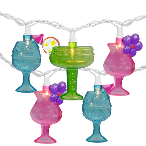 10-Count Mixed Cocktail Drink Summer Patio Light Set - 7.5 ft White Wire - IMAGE 1