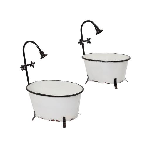 "Set of 2 White and Black Bathtub Oval Planters 20.28"" - IMAGE 1"