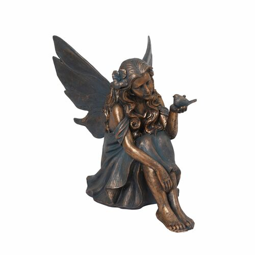 """25.25"""" Gold and Black Sitting Fairy Outdoor Patio Tabletop Figurine - IMAGE 1"""