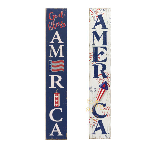 """Set of 2 Blue and White """"God Bless AMERICA"""" Patriotic Outdoor Wall Decor 47.25"""" - IMAGE 1"""