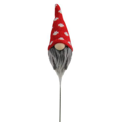 "12.5"" Red and White Polka Dots Santa Gnome Head Christmas Pick Decoration - IMAGE 1"