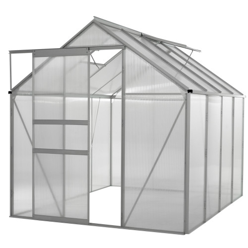 8' Clear and Silver Outdoor Garden Greenhouse with Frame - IMAGE 1
