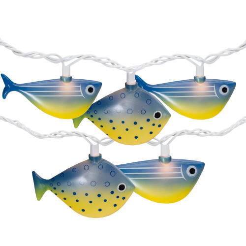 10 Blue and Yellow Fish Mini Summer Patio String Lights – 8.5 ft Green Wire - IMAGE 1