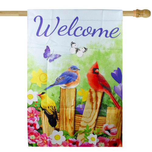 "Welcome Birds on a Fence Outdoor Garden Flag 28"" x 40"" - IMAGE 1"