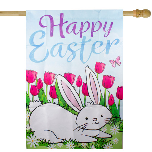 """Happy Easter Bunny Outdoor House Flag 28"""" x 40"""" - IMAGE 1"""