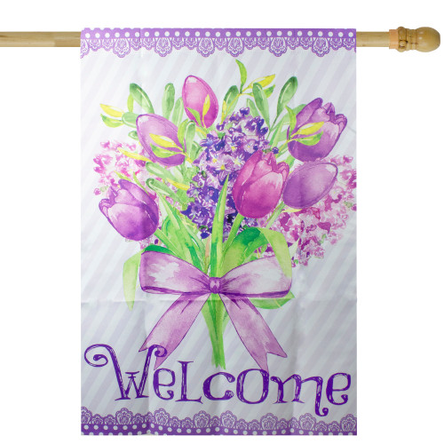 """Welcome Purple Floral Bouquet Outdoor House Flag 28"""" x 40"""" - IMAGE 1"""