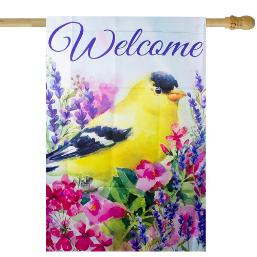 """Welcome Yellow Finch Spring Outdoor House Flag 28"""" x 40"""" - IMAGE 1"""