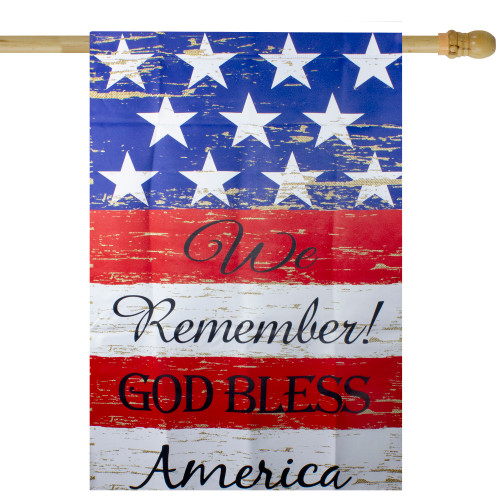 """We Remember! Patriotic American Outdoor House Flag 28"""" x 40"""" - IMAGE 1"""