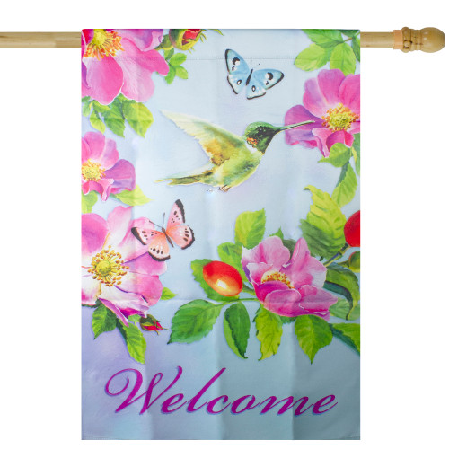"""Welcome Hummingbird Floral Outdoor House Flag 28"""" x 40"""" - IMAGE 1"""
